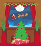 Cartão do ano novo feliz com Santa Imagem de Stock Royalty Free