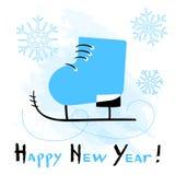 Cartão do ano novo feliz com sapatas de patinagem estilizados no fundo branco ilustração stock