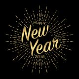 Cartão 2018 do ano novo feliz com sunburst do ouro ilustração stock