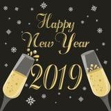 Cartão do ano novo feliz com vidros do champanhe no fundo preto ilustração stock