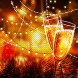 Cartão do ano novo feliz com vidros do champanhe Imagem de Stock