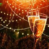 Cartão do ano novo feliz com vidros do champanhe Fotografia de Stock Royalty Free