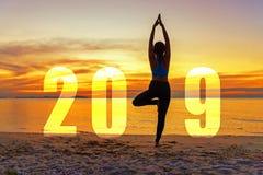 Cartão 2019 do ano novo feliz da ioga Posição praticando da ioga da mulher da silhueta como parte do número 2019 imagem de stock royalty free