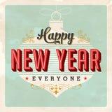 Cartão do ano novo feliz do vintage Fotografia de Stock Royalty Free
