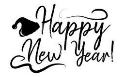 Cartão do ano novo feliz e Feliz Natal da caligrafia Molde FO ilustração do vetor