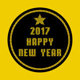 Cartão 2017 do ano novo feliz feito de partículas do mosaico do ouro Fotos de Stock