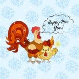 Cartão do ano novo feliz Galo dos desenhos animados com galo Ilustração do vetor Imagens de Stock Royalty Free