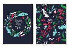 Cartão do ano novo feliz Grupo de cartões com símbolos do Natal Fotos de Stock