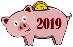 Cartão do ano novo feliz 2019 do mealheiro com o porco bonito dos desenhos animados O ano de porco ilustração do vetor