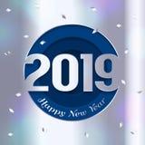 Cartão do ano 2019 novo feliz Números cutted do papel de prata e dos confetes no fundo Vetor ilustração royalty free