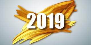 Cartão do ano novo feliz do ouro 2019 Bandeira com 2019 números ilustração do ano novo do vetor Escova acrílica do ouro ilustração do vetor