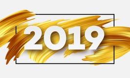 Cartão do ano novo feliz do ouro 2019 Ilustração do vetor Imagem de Stock Royalty Free
