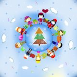 Cartão do ano novo feliz (para cantar e dançar em um anel). Fotos de Stock