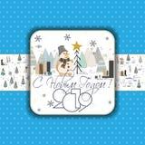 Cartão do ano novo feliz 2019 para seu projeto Ano novo feliz da transcrição do russo ilustração royalty free