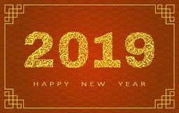 Cartão do ano 2019 novo feliz Ano do porco Ano novo chinês com mão garatujas tiradas Para bandeiras, cartazes imagens de stock royalty free
