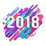 Cartão do ano 2018 novo feliz, projeto de cartão, cartaz Abstração moderna do estilo da combinação bonita original com composição Foto de Stock