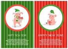 Cartão do ano novo feliz, símbolo do Xmas dos leitão, texto ilustração do vetor