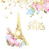 Cartão do ano novo feliz sobre o fundo cinzento com faíscas douradas Torre Eiffel com os confetes dourados isolados sobre o cinza ilustração do vetor