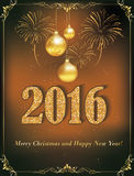 Cartão do ano novo feliz 2016, também para a cópia Imagem de Stock