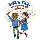 Cartão do ano novo feliz Tenha o divertimento no título dos desenhos animados da noite do ano novo Dança dos pares em trajes do c Foto de Stock Royalty Free