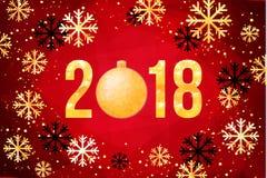 Cartão do ano novo feliz do vetor 2018 Números dourados com confetes no fundo preto Imagens de Stock Royalty Free
