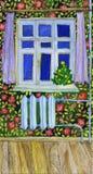Cartão do ano novo Ilustração interna tirada mão da Noite de Natal da aquarela Árvore no ornamento da flor do decorationand imagens de stock