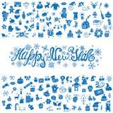 Cartão do ano novo Os ícones mostram em silhueta, azul ilustração royalty free
