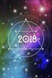 Cartão 2018 do ano novo ou tampa astrológica do calendário no fundo cósmico Projeto sagrado do vetor do Natal da geometria Imagem de Stock Royalty Free