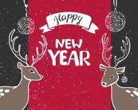 Cartão 2018 do ano novo para decorar a caixa de presente e a serpentina, as bolas e as estrelas do ouro, o ramo e o cone Ilustraç ilustração stock