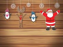 Cartão do ano novo para o projeto do feriado com Santa Claus, a rena e os pinguins Vetor Fotografia de Stock Royalty Free
