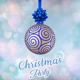 Cartão do ano novo s com bola azul Eps 10 ilustração stock