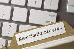 Cartão do arquivo com novas tecnologias da inscrição 3d Imagem de Stock