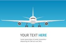 Cartão do avião do passageiro Jet Front View Vetor Imagem de Stock Royalty Free