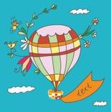 Cartão do balão de ar quente Fotografia de Stock