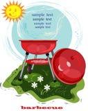 Cartão do BBQ com soldador Fotos de Stock