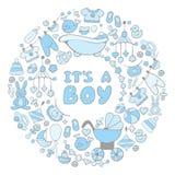 Cartão do bebê com texto é um menino Fotografia de Stock Royalty Free