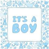 Cartão do bebê com texto é um menino Imagem de Stock Royalty Free