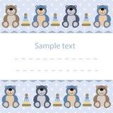cartão do bebê com ursos de peluche ilustração royalty free