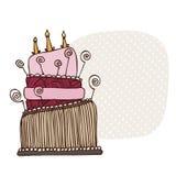 Cartão do bolo de aniversário Imagens de Stock