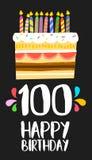 Cartão do bolo do feliz aniversario 100 cem partidos do ano Imagens de Stock