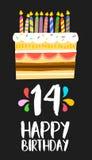 Cartão 14 do bolo do feliz aniversario quatorze partidos do ano ilustração royalty free