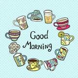 Cartão do bom dia com os copos de chá da garatuja no fundo azul Imagem de Stock