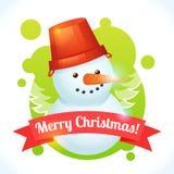 Cartão do boneco de neve do Natal Imagens de Stock