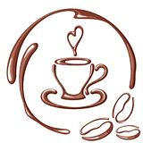 Cartão do café com copo e feijões Imagens de Stock Royalty Free