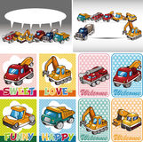 Cartão do caminhão dos desenhos animados ilustração stock