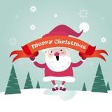 Cartão do cartaz de Santa Clause Happy New Year do Feliz Natal Fotos de Stock Royalty Free