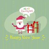 Cartão do cartaz de Santa Clause Happy New Year do Feliz Natal ilustração do vetor
