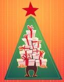 Cartão do cartaz do Feliz Natal com estilo da rotulação e dos desenhos animados do callygraphy pilha de muitos presentes, curva d ilustração stock