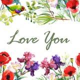 Cartão do casamento ou de aniversário Frame floral Fundo da aguarela com flores ilustração royalty free