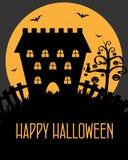 Cartão do castelo de Halloween Fotografia de Stock Royalty Free